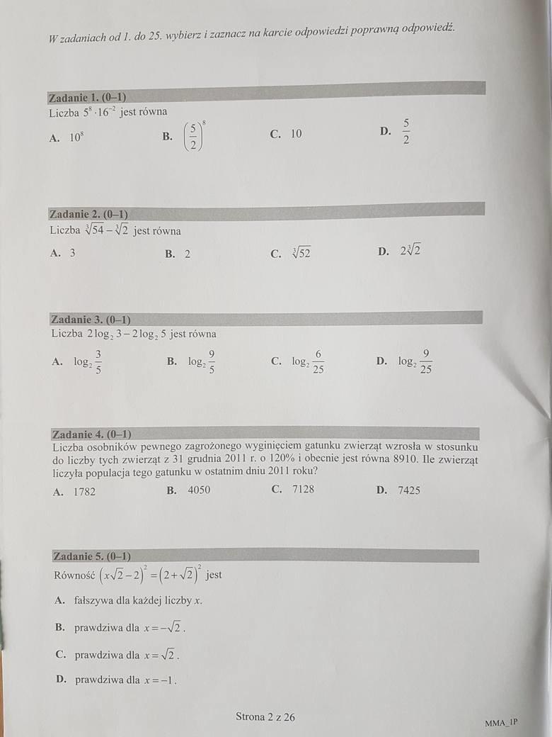 Matura 2017. Matematyka, poziom podstawowy [ARKUSZE,ODPOWIEDZI]