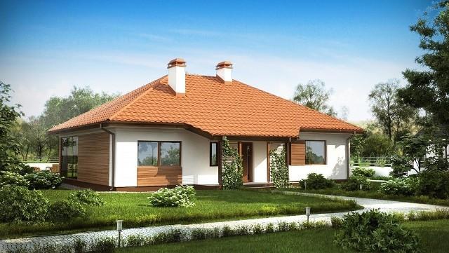 Dom parterowy - projekt domu Z185Projekt domu parterowego na planie prostokąta