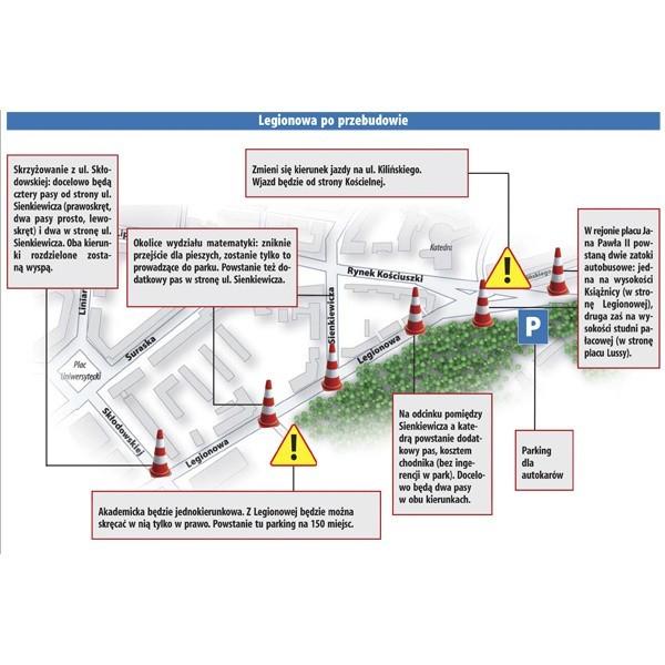 Legionowa będzie poszerzona, z nowymi przystankami, przejściami dla pieszych i sygnalizacją. Ma to usprawnić ruch, który w tym rejonie bardzo się zagęścił po zamknięciu rynku.