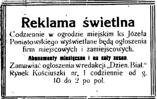 Reklama reklamy z 1922 roku