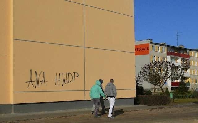 Nowa, świeżo docieplona elewacja bloku przy ulicy Witosa 1 D została oszpecona napisami wykonanymi czarnym sprayem. Mieszkańcy osiedla są oburzeni i chcą ukarania sprawców tego czynu