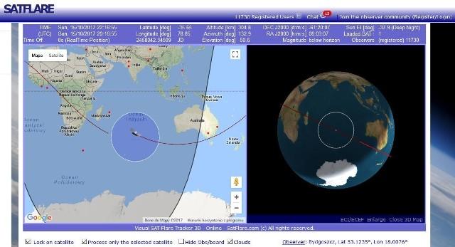 Nie wiadomo, gdzie chiński satelita runie na Ziemię, ale w sieci można śledzić jego trajektorię