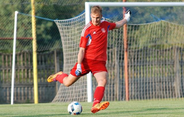 Bramkarz Wiernej Małogoszcz - Artur Marzec rozegrał bardzo dobre spotkanie w Radzyniu Podlaskim przeciwko Orlętom.
