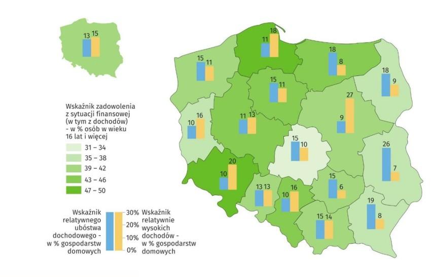 Sytuacja dochodowa gospodarstw domowych według województw (w...