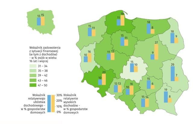 Sytuacja dochodowa gospodarstw domowych według województw (w % osób w wieku 16 lat i więcej)