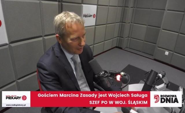 Wojciech Saługa jako Gość Dnia Dziennika Zachodniego w studio Radia Piekary