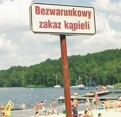 Czerwona flaga na kąpielisku w Lubczynie.