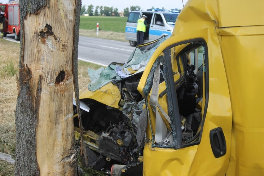 Auto uderzyło w drzewo. Kierowca został zakleszczony w pojeździe [ZDJĘCIA]