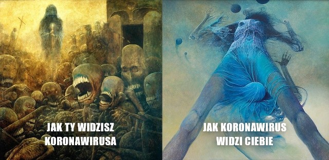 Apokaliptyczne memy o koronawirusie podbijają internet. Inspiracją obrazy Zbigniewa Beksińskiego.Zobacz kolejne zdjęcia. Przesuwaj zdjęcia w prawo - naciśnij strzałkę lub przycisk NASTĘPNE
