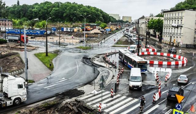 Rondo w trakcie przebudowy - zdjęcie z maja 2019