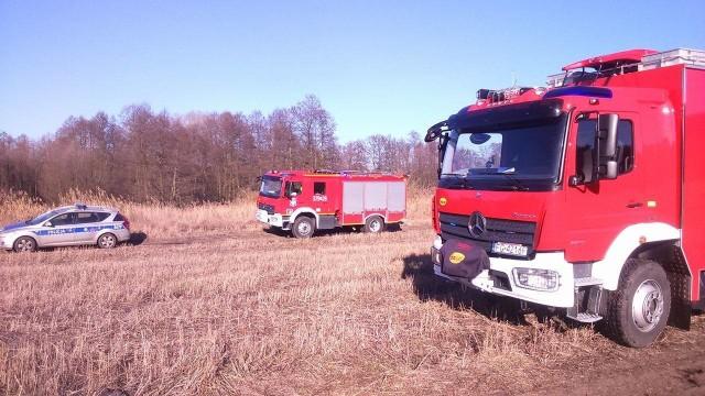 W akcji na stawie koło wsi Krasne Dłusko w gminie Przytoczna uczestniczyli m.in. strażacy.