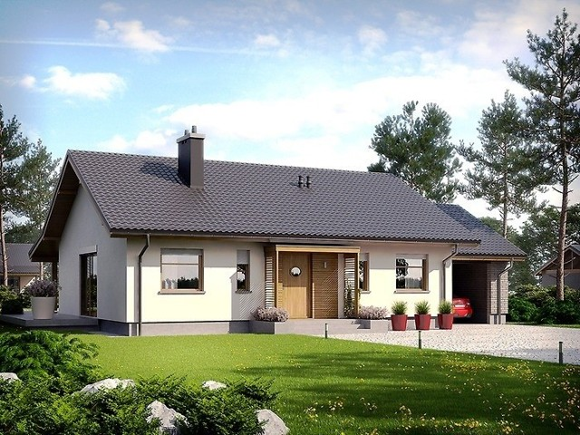 Dom parterowyProjekt domu parterowego z wiatą garażową