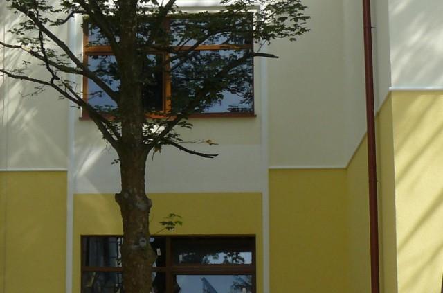 Elewacja wykończona tynkiem silikonowymElewacja domu pokryta tynkiem silikonowym