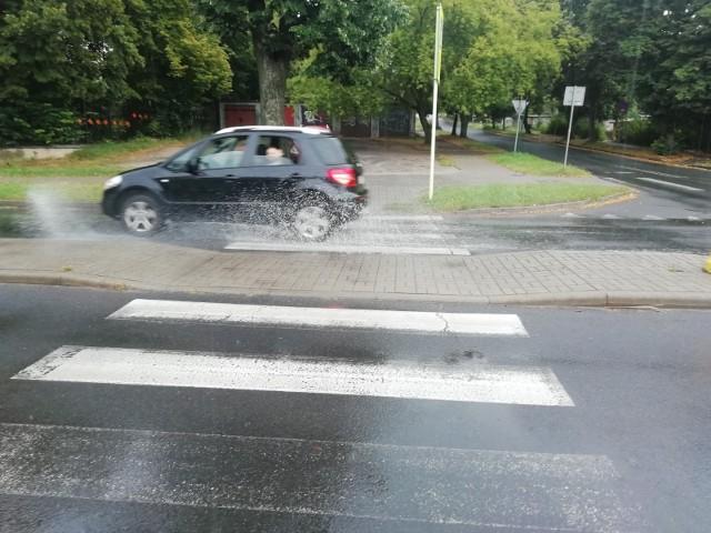 Na taką niespodziankę może trafić pieszy na przejściu przy ul. Wyspiańskiego i Dzikiej