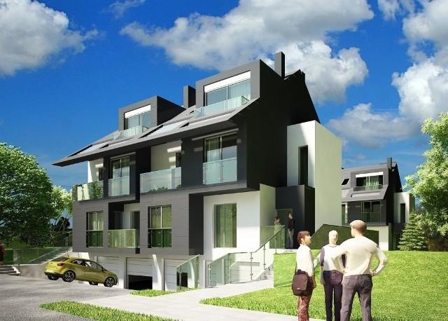 Nowoczesną bryłę budynków i luksusowe wykończenie zaprojektowała kielecka Pracownia Architektoniczna DETAN.