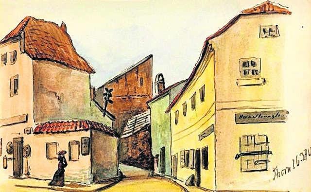 Tak za czasów hauptmanna Kauscha wyglądało skrzyżowanie ulic Szerokiej i Podmurnej