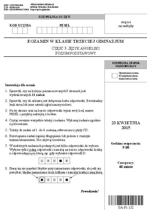 EGZAMIN GIMNAZJALNY 2015. FRANCUSKI podstawowy PYTANIA + ODPOWIEDZI + ARKUSZE