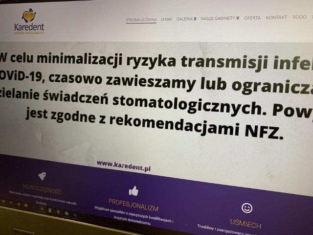 Na stronach internetowych niektórych gabinetów pojawiły się informacje o zawieszeniu działalności bądź ograniczeniu udzielania świadczeń. Wszystko przez epidemię koronawirusa.