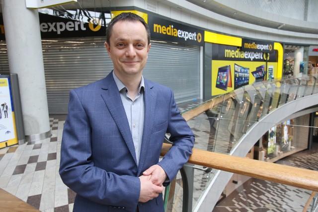 Krzysztof Kucharski, dyrektor Galerii Korona Kielce zaprasza na wielkie otwarcie Media Expert 17 maja o godzinie 7.