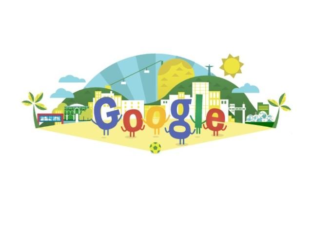 Google dało Doodle dla uczczenia pierwszego dnia Mistrzostw Świata w Piłce Nożnej 2014