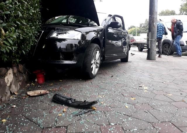 Zderzenie 4 samochodów na ul. Grabiszyńskiej we Wrocławiu 22.09.2021