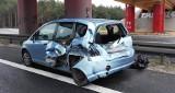 Wypadek na S3 pod Zieloną Górą. Motocyklista uderzył w hondę i volkswagena [ZDJĘCIA]