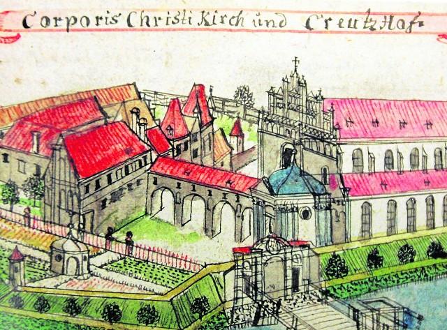 Rysunek nieistniejącego dzisiaj klasztoru Joannitów i przynależnych do niego ogrodów, około połowy XVIII wieku