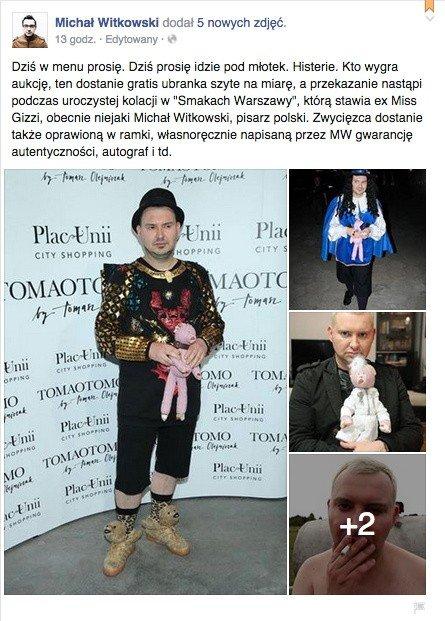 cccbde93a0 Michał Witkowski wyprzedaje swoje ubrania na swoim profilu na facebooku