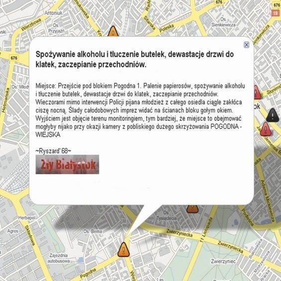 Do naszej mapy niebezpiecznych miejsc Białegostoku internauci ciągle dopisują nowe przykłady.