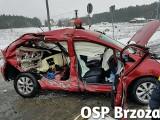Skręcała na stację, wymusiła pierwszeństwo. Groźny wypadek w Januszkowie pod Bydgoszczą