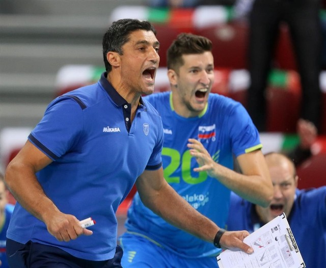 Tak cieszył się trener Słowenii, Andrea Giani, po zwycięstwie nad biało-czerwonymi