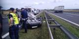 Samochód osobowy dachował na drodze S3 koło Gorzowa