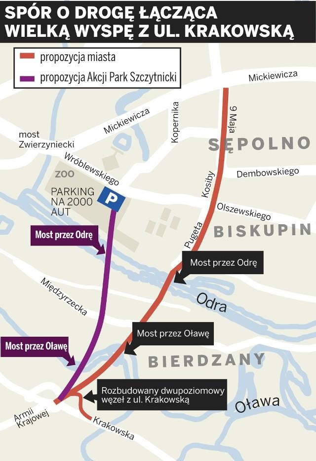 Alternatywny przebieg nowej drogi, proponowany przez nowych radnych osiedlowych