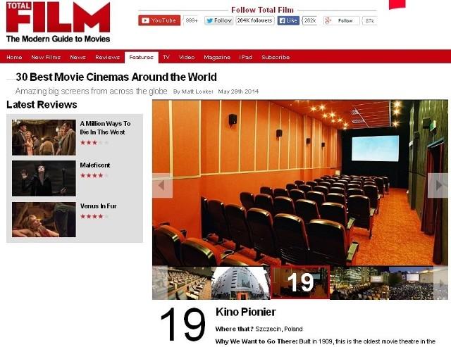 W rankingu prestiżowego Total Film szczecińskie kino Pionier znalazło się na 19. miejscu.