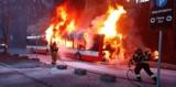 Pożar autobusu komunikacji miejskiej przy ulicy Smoluchowskiego w Gdańsku. Tymczasowo zmienione trasy
