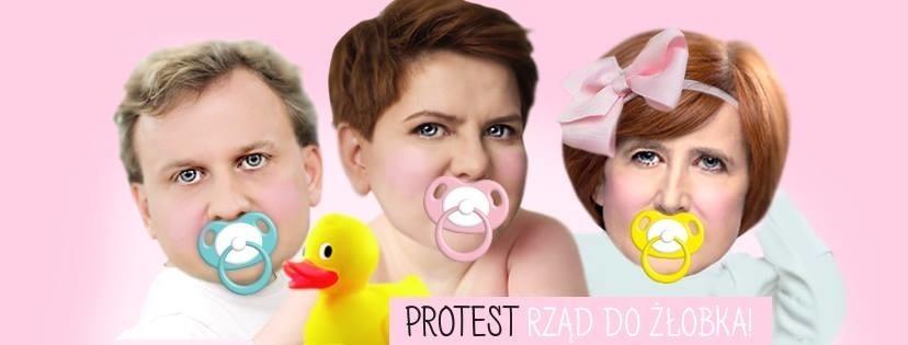 Protest żłobków - smoczki w dłoń!