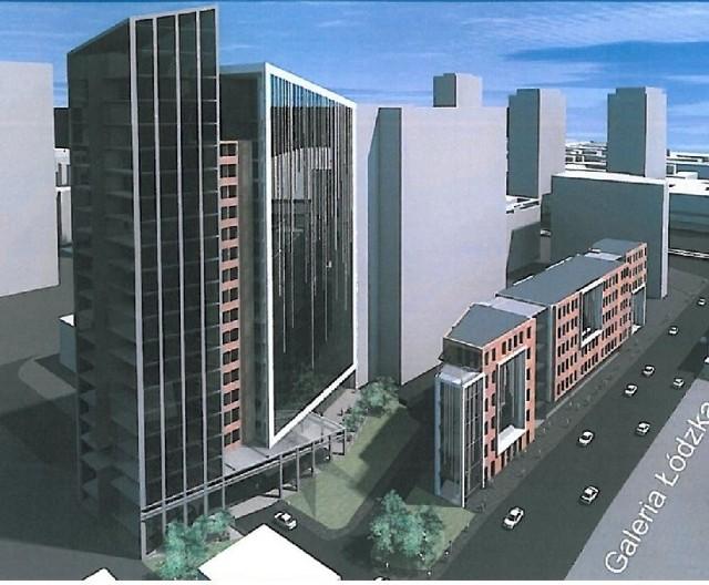 """W miejscu dawnej siedziby SM """"Śródmieście"""" powstanie okazały hotel i nieco niższy budynek biurowy."""