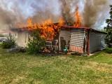 Pożar domku letniskowego w Ełku. Z ogniem walczyły dwa zastępy strażaków. Budynek spłonął doszczętnie [ZDJĘCIA]