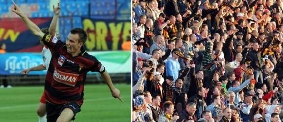 Maciej Ropiejko pokazuje, że już dziś Pogoń wywalczy sobie miejsce w I lidze. Włodarze Pogoni oczekują, że na dzisiejszym meczu z Unią stawi się 10 tysięcy widzów.