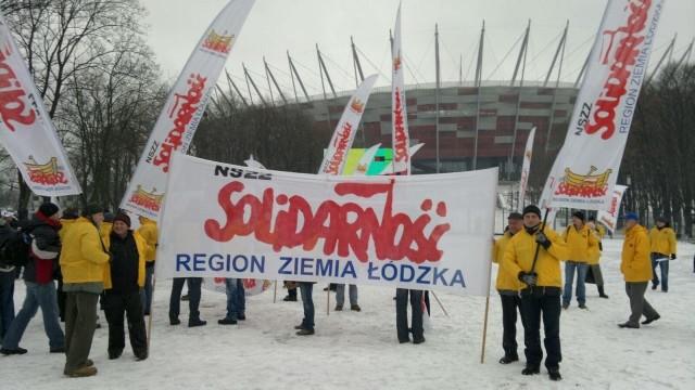 Protest pracowników łódzkiej Coca-Coli w Warszawie