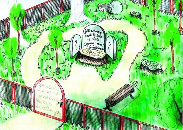 Projekt pomnika, który mieszkańcy chcą ustawić na skwerze