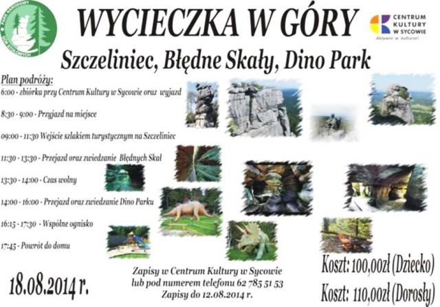Plakat ilustrujący zaproszenie na wycieczkę w Góry Stołowe