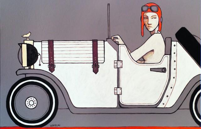 """Obraz Michała Wareckiego zatytułowany """"Akt jadący samochodem"""" (2010)"""