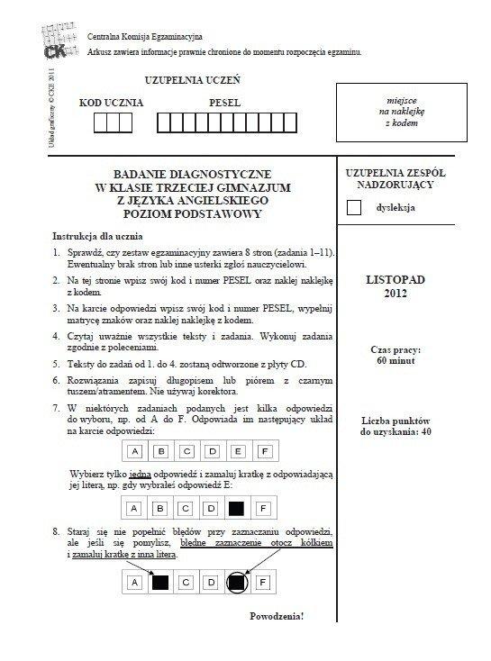 odpowiedzi egzamin gimnazjalny 2012 matematyka