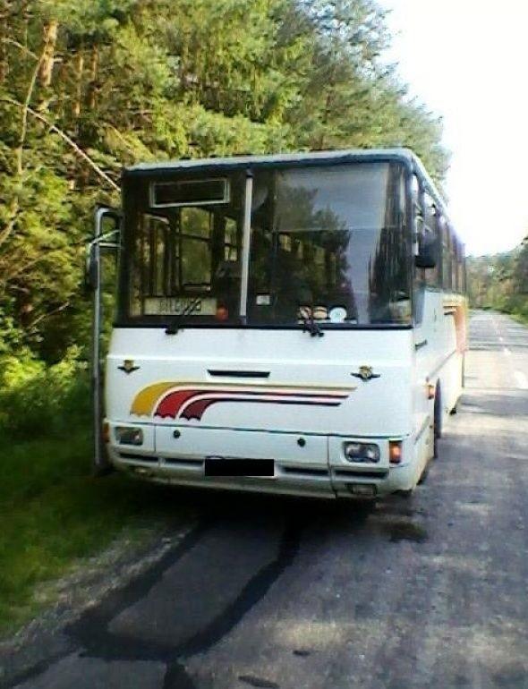 Trasa Kozaki-Łukowa: Autobus PKS w rowie. Kierowca był pijany