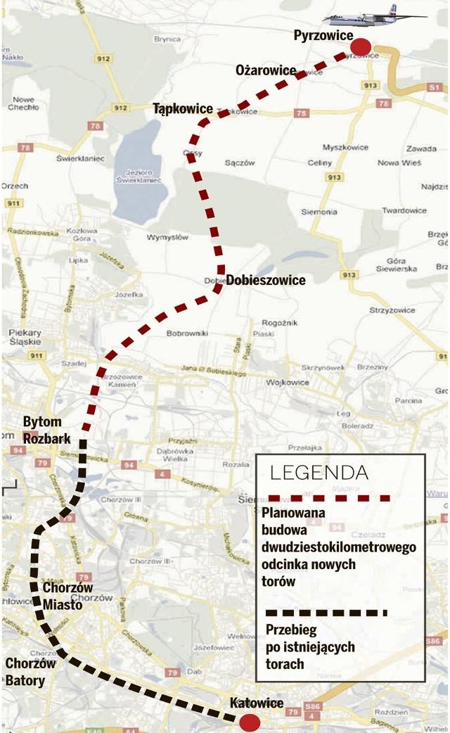 Przebieg szybkiej kolei do Pyrzowic