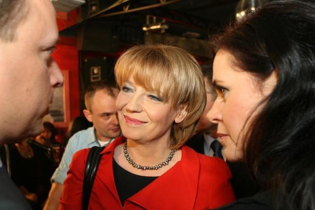 Hanna Zdanowska podczas wieczoru wyborczego.