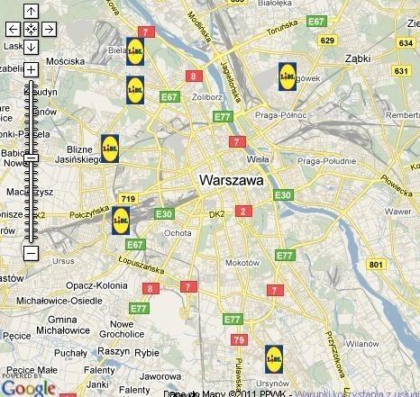 Lokalizacja sklepów Lidl na terenie Warszawy