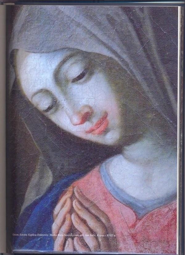 Skradziony z katedry w Gnieźnie obraz - kopia według włoskiego stylu malarza Giovanni Battisty Salvi da Sassoferrato - ma wymiary około 25 na 30 cm.