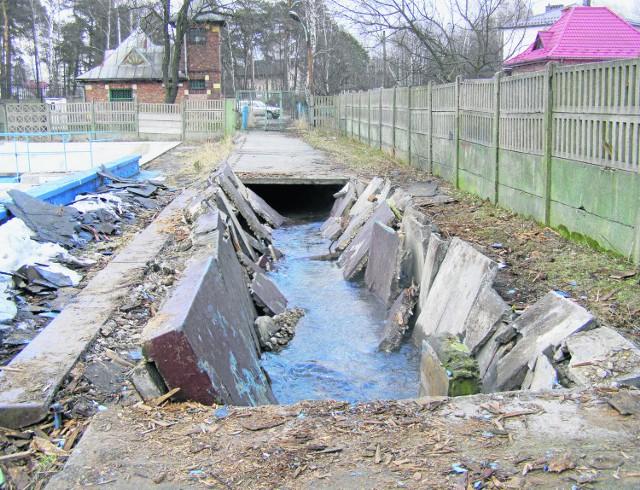 Część betonowych płyt na terenie basenu jest połamanych